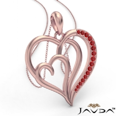 Triple Heart Pendant Necklace In 14k Rose Gold Round Ruby <Dcarat>