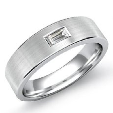 Flat Solitaire Baguette Diamond Men's Half Wedding Band 14k White Gold 0.15 Ct