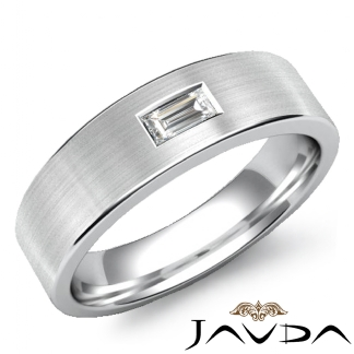Solitaire Baguette Diamond Mens Wedding Band 14k White Gold 65mm Ring 015Ct