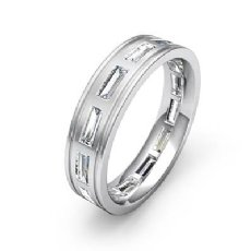 Baguette Bezel Diamond Mens 6mm Ring Eternity Wedding Band 14k White Gold 2.2Ct