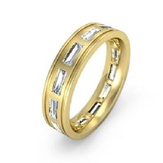 Bezel Set baguette Men's Diamond Eternity Wedding Band 14k Gold Yellow (2.2Ct. tw.)