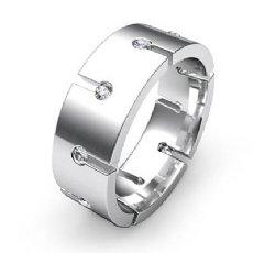 High Polished Round Diamond Men's Eternity Wedding Band 14k White Gold 0.50 Ct