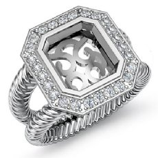 0.35Ct Diamond Engagement Ring Halo Setting 14k White Gold Emerald Cut SemiMount
