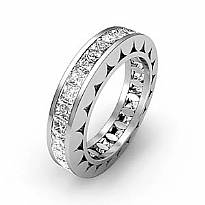 Vintage Eternity Band Women Ring Princess Channel Diamond 14k White Gold 2.35Ct