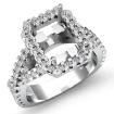 1Ct Diamond Engagement Ring Halo Setting 14k White Gold Radiant Shape Semi Mount - javda.com