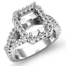1Ct Diamond Engagement Ring Halo Setting 14K White Gold Radiant Shape Semi Mount
