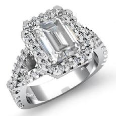 Cross Shank Halo Prong Set Emerald diamond engagement Ring in 14k Gold White
