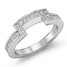 Half Wedding Women's Band Platinum 950 Matching Set Round Diamond Ring  (0.4Ct. tw.)
