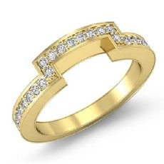 Half Wedding Women's Band 14k Gold Yellow Matching Set Round Diamond Ring  (0.4Ct. tw.)