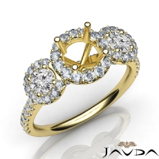 3 Stone Diamond Engagement Round Semi Mount Setting Ring 14k Gold Yellow  (1Ct. tw.)