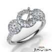 3 Stone Diamond Engagement Round Semi Mount Setting Ring 14k White Gold 1Ct - javda.com