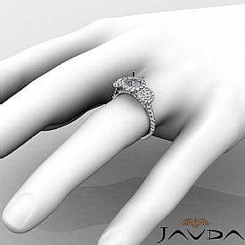 3 Stone Diamond Engagement Round Semi Mount Setting Ring 14K White Gold 1Ct