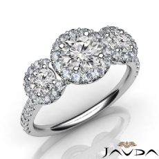 U Pave three Stone Halo Round diamond Engagement Ring in 14k Gold White