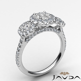 3 Stone Diamond Engagement Round Semi Mount Setting Ring Gold W18k 1Ct