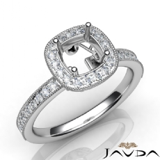 Halo Pave Setting Diamond Engagement Round Semi Mount Ring 14K White Gold 0.50Ct