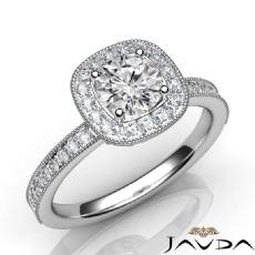 Milgrain Sidestone Halo Round diamond engagement Ring in 14k Gold White