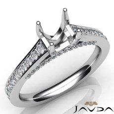 Diamond Engagement Round Cut Semi Mount Pave Setting Ring 14K White Gold 0.75Ct