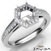 Hexagon Pave Setting Diamond Engagement Round Semi Mount Ring 14k White Gold 0.5Ct - javda.com