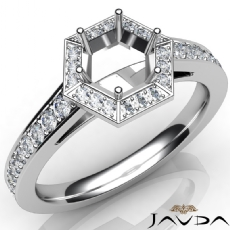 Hexagon Pave Setting Diamond Engagement Round Semi Mount Ring 14K W Gold 0.50Ct