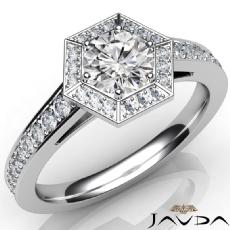 Hexagon Halo Sidestone Round diamond engagement Ring in 14k Gold White