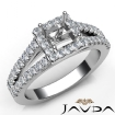 Diamond Engagement Princess Semi Mount 14k White Gold Halo Prong Setting Ring 0.75Ct - javda.com