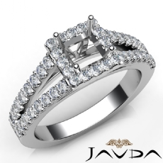 Diamond Engagement Princess Semi Mount 14K W Gold Halo Prong Setting Ring 0.75Ct