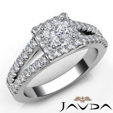 Halo U Prong Sidestone Princess diamond engagement Ring in 14k Gold White