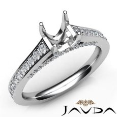 Diamond Engagement Oval Cut Semi Mount Pave Setting Ring 14K White Gold 0.75Ct