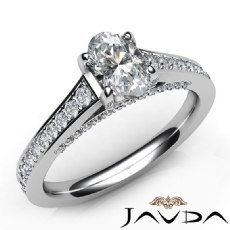 Pave Bridge Classic Sidestone Oval diamond engagement Ring in 14k Gold White