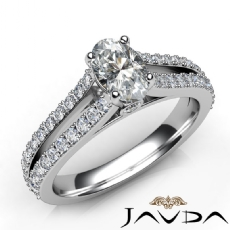 Double Prong Set Sidestone Oval diamond engagement Ring in 14k Gold White