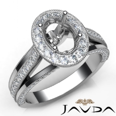 Halo Pre-Set Diamond Engagement 14K W Gold Oval Semi Mount Millgrain Ring 0.90Ct