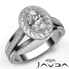 Vaulted Milgrain Halo Pave Oval diamond engagement Ring in 14k Gold White