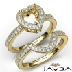 Diamond Engagement Ring Heart Halo Pave Bridal Set 14k Yellow Gold Semi Mount 1Ct - javda.com