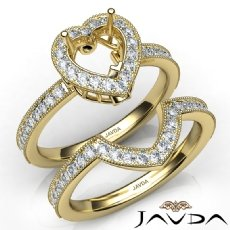 Diamond Engagement Ring Heart Halo Pave Bridal Set 14k Gold Yellow Semi Mount  (1Ct. tw.)