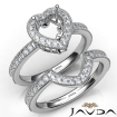 Diamond Engagement Ring Heart Halo Pave Bridal Set 14k White Gold Semi Mount 1Ct - javda.com