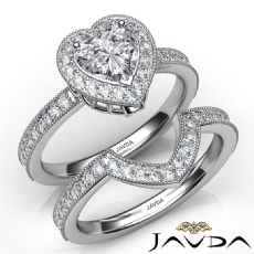Milgrain Bridal Set Halo Bezel Heart diamond engagement Ring in 14k Gold White