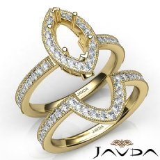 Pave Diamond Engagement Ring Marquise Bridal Set 14k Gold Yellow Semi Mount  (1Ct. tw.)