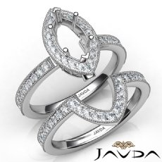 Pave Diamond Engagement Ring Marquise Bridal Set 14K White Gold Semi Mount 1Ct
