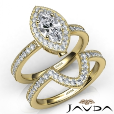 Milgrain Halo Pave Bridal Set Marquise diamond engagement Ring in 14k Gold Yellow