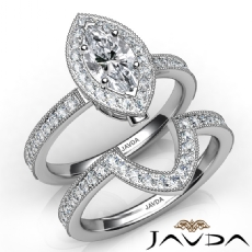 Milgrain Halo Pave Bridal Set Marquise diamond engagement Ring in 14k Gold White