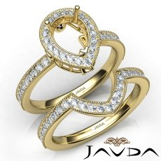 Diamond Engagement Ring Pear Halo Pave Bridal Set 14k Gold Yellow Semi Mount  (1Ct. tw.)