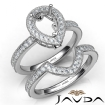 Diamond Engagement Ring Pear Halo Pave Bridal Set 14k White Gold Semi Mount 1Ct - javda.com