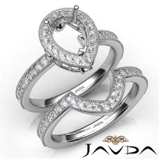 Diamond Engagement Ring Pear Halo Pave Bridal Set 14K White Gold Semi Mount 1Ct