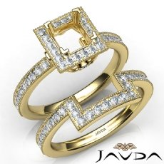 Pave Diamond Engagement Ring Princess Bridal Set 14k Gold Yellow Semi Mount  (1Ct. tw.)