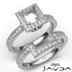 Pave Diamond Engagement Ring Princess Bridal Set 14k White Gold Semi Mount 1Ct - javda.com