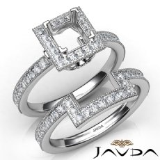Pave Diamond Engagement Ring Princess Bridal Set 14K White Gold Semi Mount 1Ct