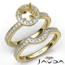 Halo Pave Diamond Engagement Ring Round Bridal Set 14k Gold Yellow Semi Mount  (1Ct. tw.)