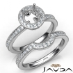 Halo Pave Diamond Engagement Ring Round Bridal Set 14k White Gold Semi Mount 1Ct - javda.com