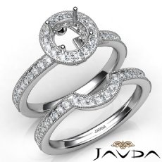 Halo Pave Diamond Engagement Ring Round Bridal Set 14K White Gold Semi Mount 1Ct