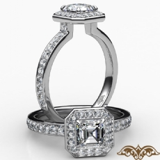 Tall Cathedral Hexagon Halo Asscher diamond  Ring in 18k Gold White